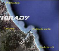 Location of Pulmoaddai, Thiriyaay, Pudavaik-kaddu and Kuchchave'li